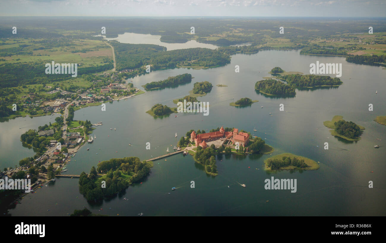 Trakai island castle photography from drone - Stock Image