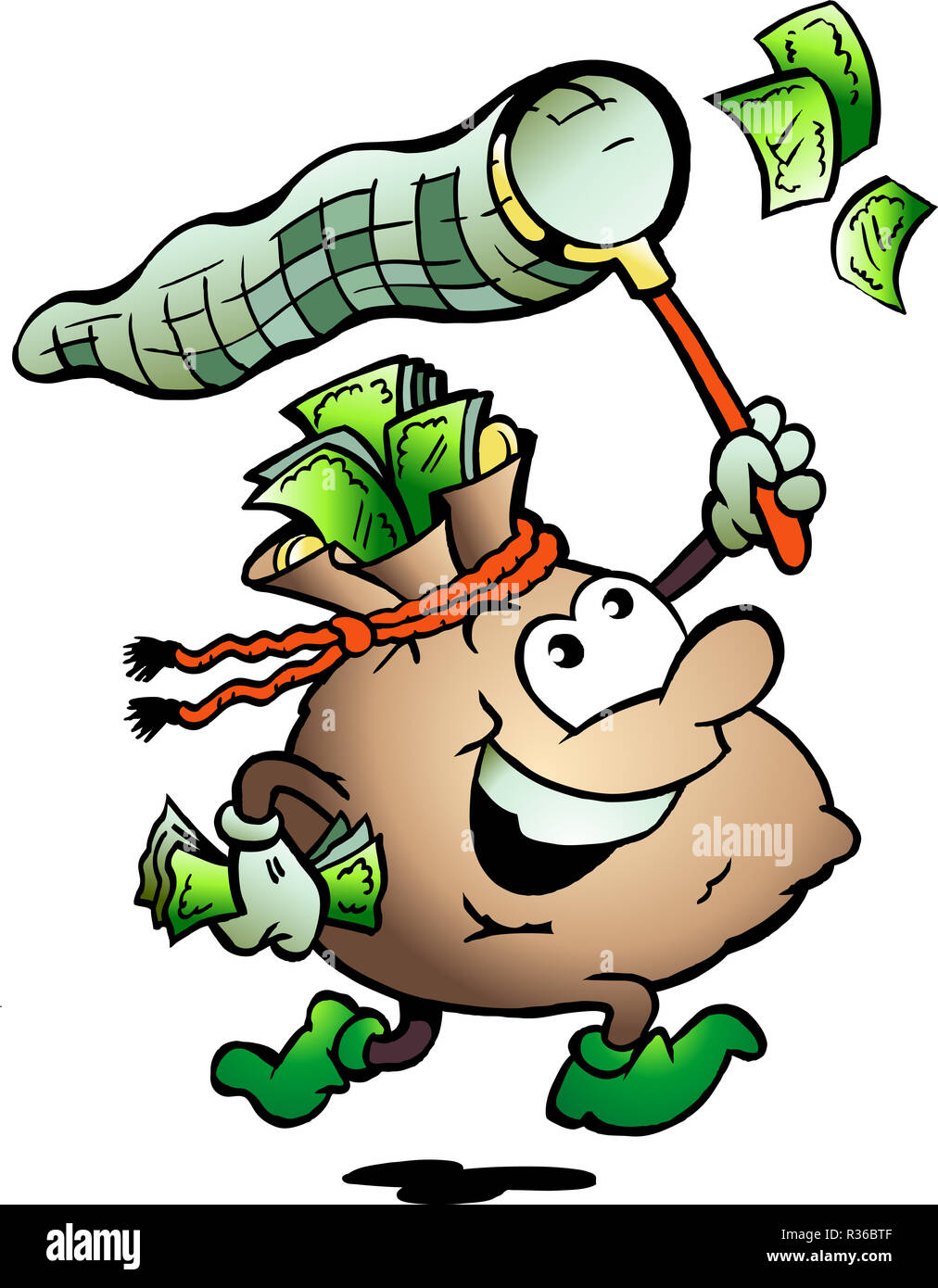 Hand-drawn Vector illustration of an Money Sack Hunting Cash - Stock Image