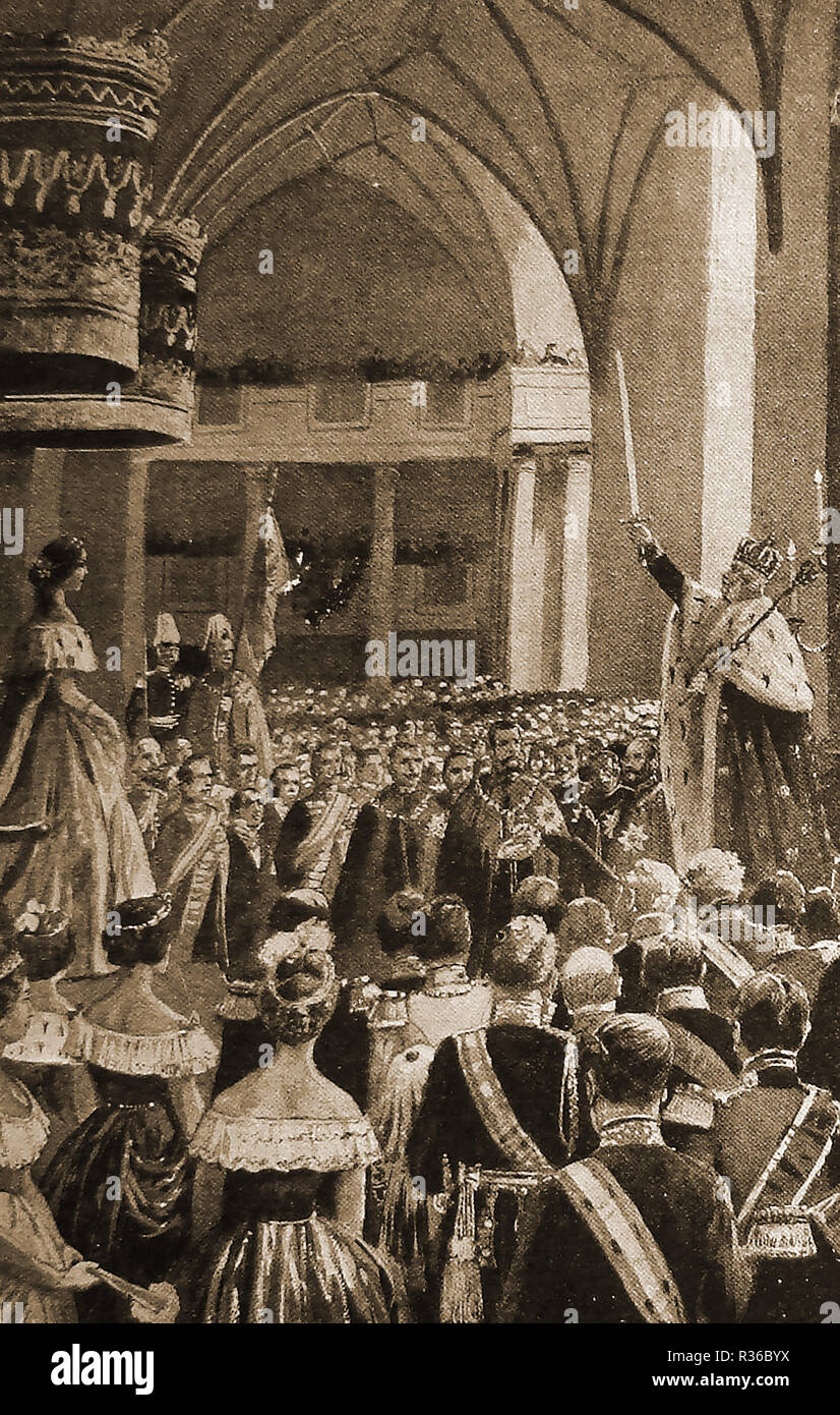 Coronation ceremony of King William I (of Prussia) at Konisberg Castle, a former German city that is now Kaliningrad, Russia on October 18th 1861 - Full name William Frederick Louis or Wilhelm Friedrich Ludwig, of Hohenzollern aka - Stock Image