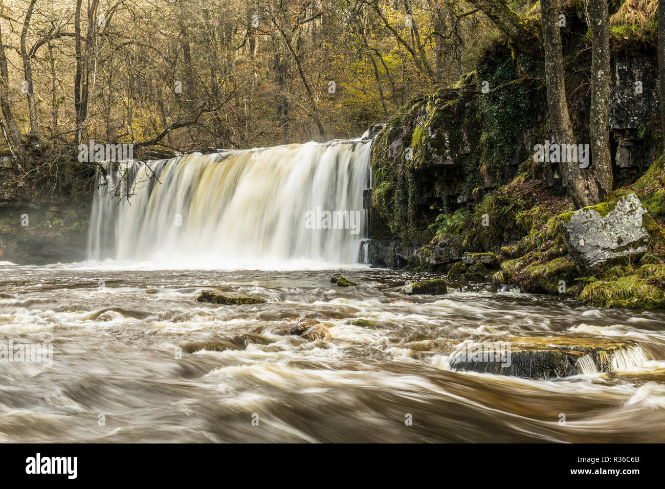 The Upper Ddwli Falls on the River Neath in the Brecon Beacons National park - Stock Image