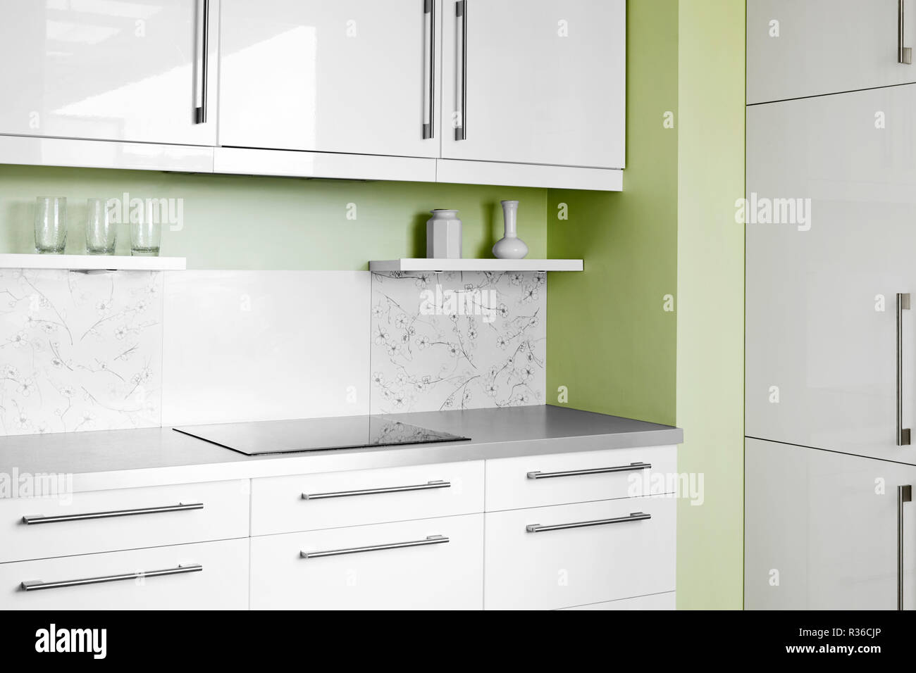 Simple Kitchen In White Colors Stock Photo Alamy