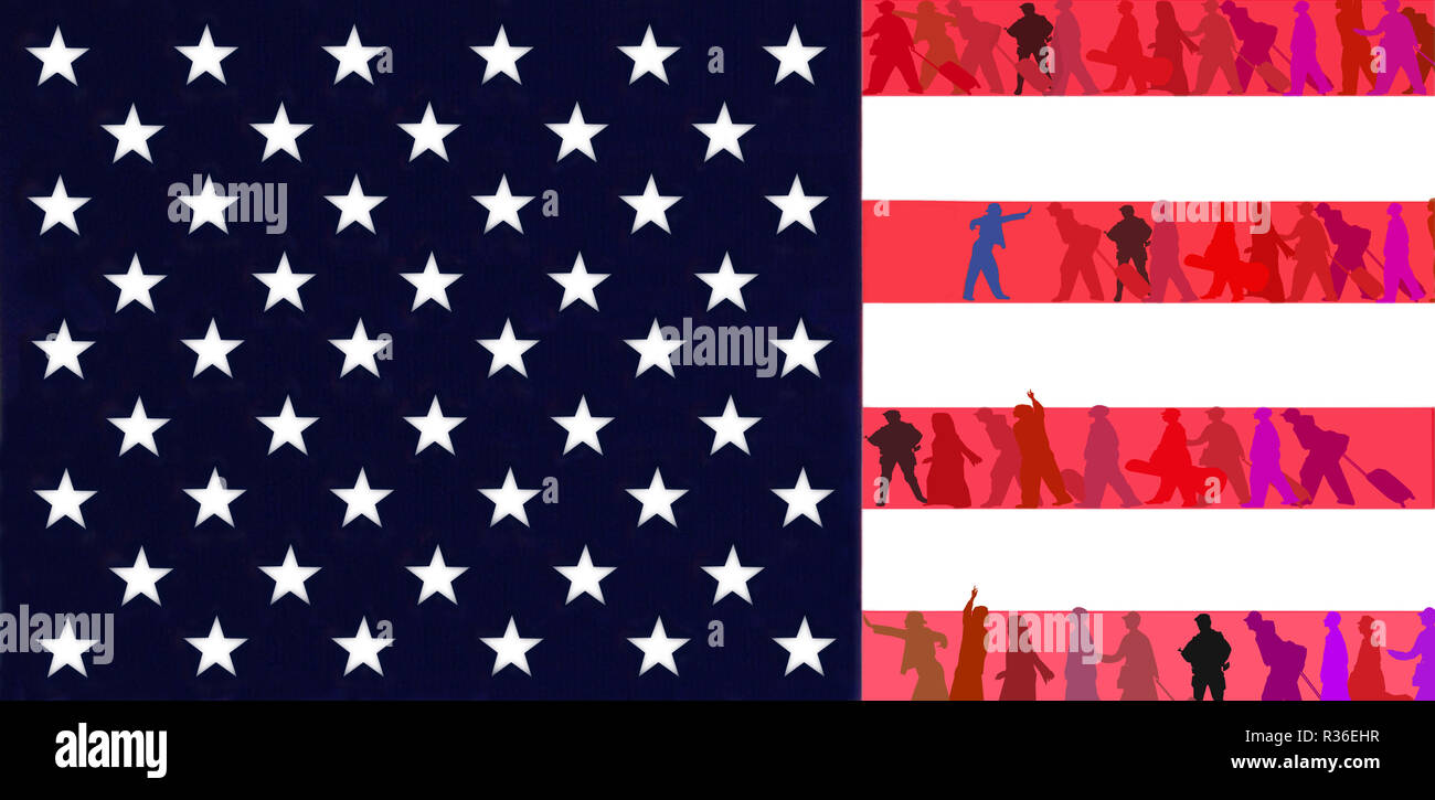 A whole population goes through the red stripes of the United States flag. Illustration. - Stock Image