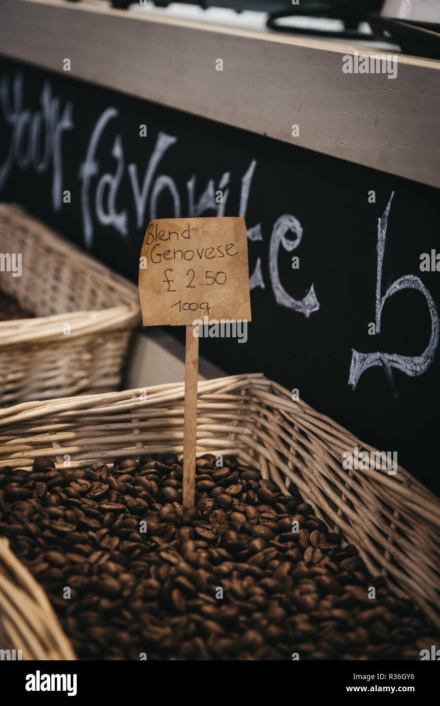 Coffee beans on sale at Mercato Metropolitano, the first sustainable community market in London focused on revitalising the area and protecting enviro - Stock Image
