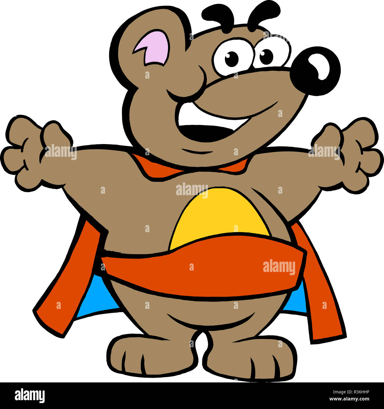 Vector illustration of an Happy Strong Super Hero Bear - Stock Image