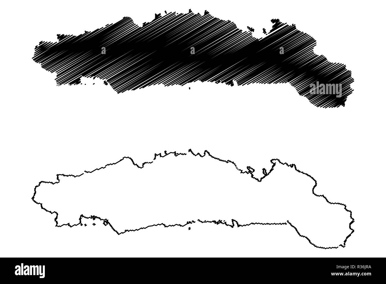 Gorontalo (Subdivisions of Indonesia, Provinces of Indonesia) map vector illustration, scribble sketch Hulontalo map - Stock Image