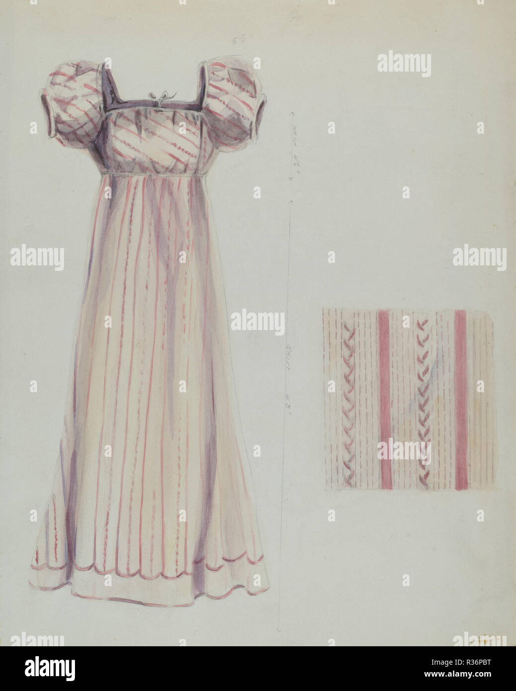 Silk Dress  Dated: c  1936  Dimensions: overall: 36 8 x 26 5
