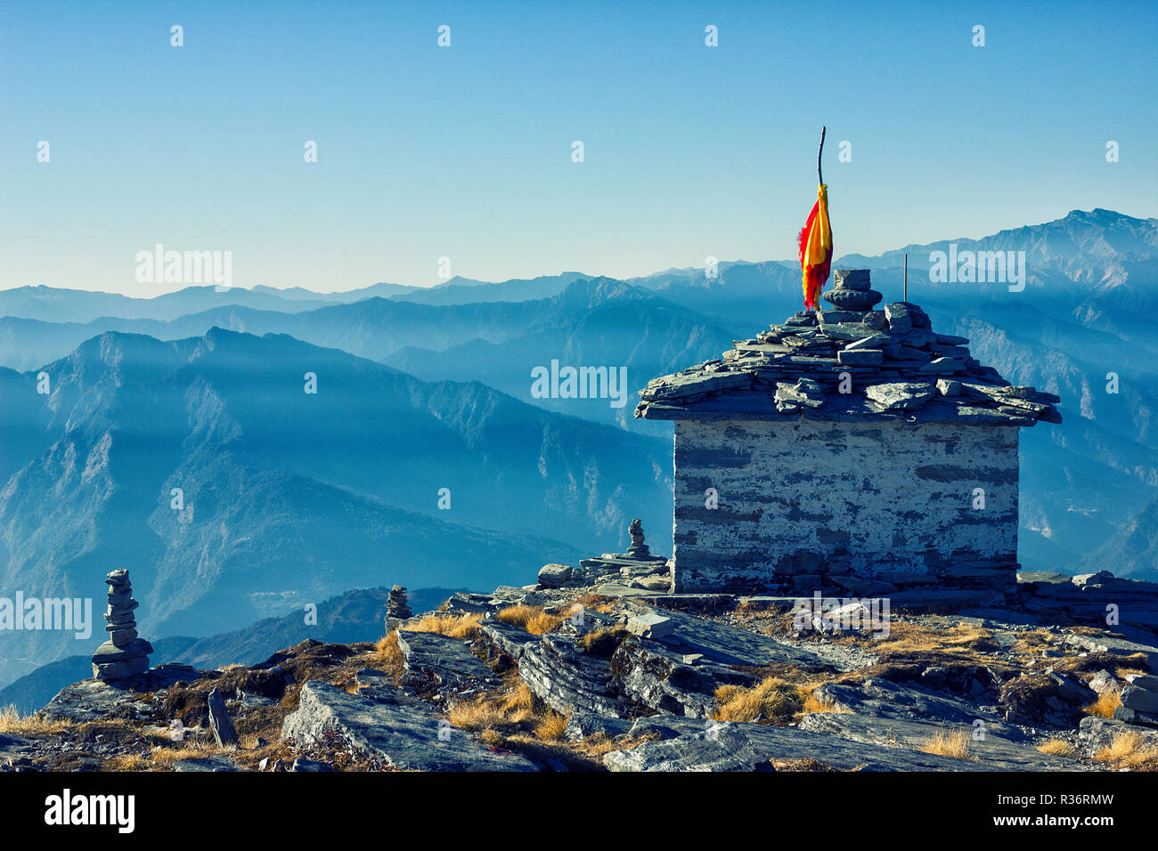 Chandrashila is summit of the Tungnath - Stock Image