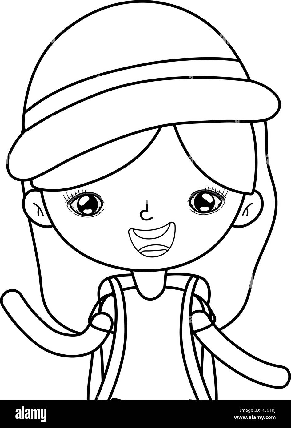 little tourist girl character vector illustration design - Stock Vector