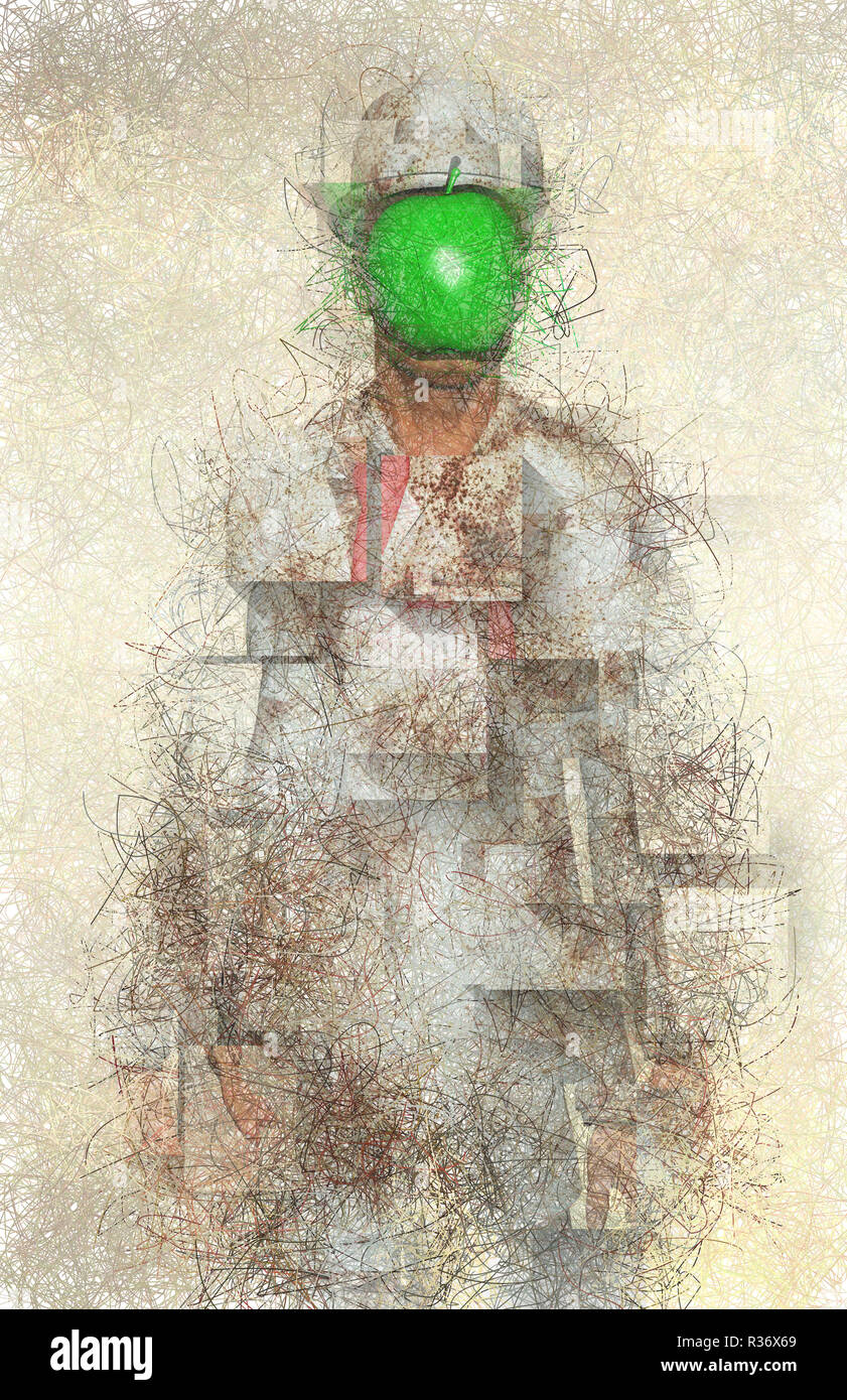 Surreal Digital Art Man In White Corroded Suit With Green