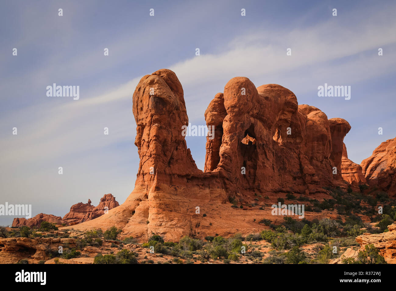 elephant butte in arches national park in the utah desert - Stock Image