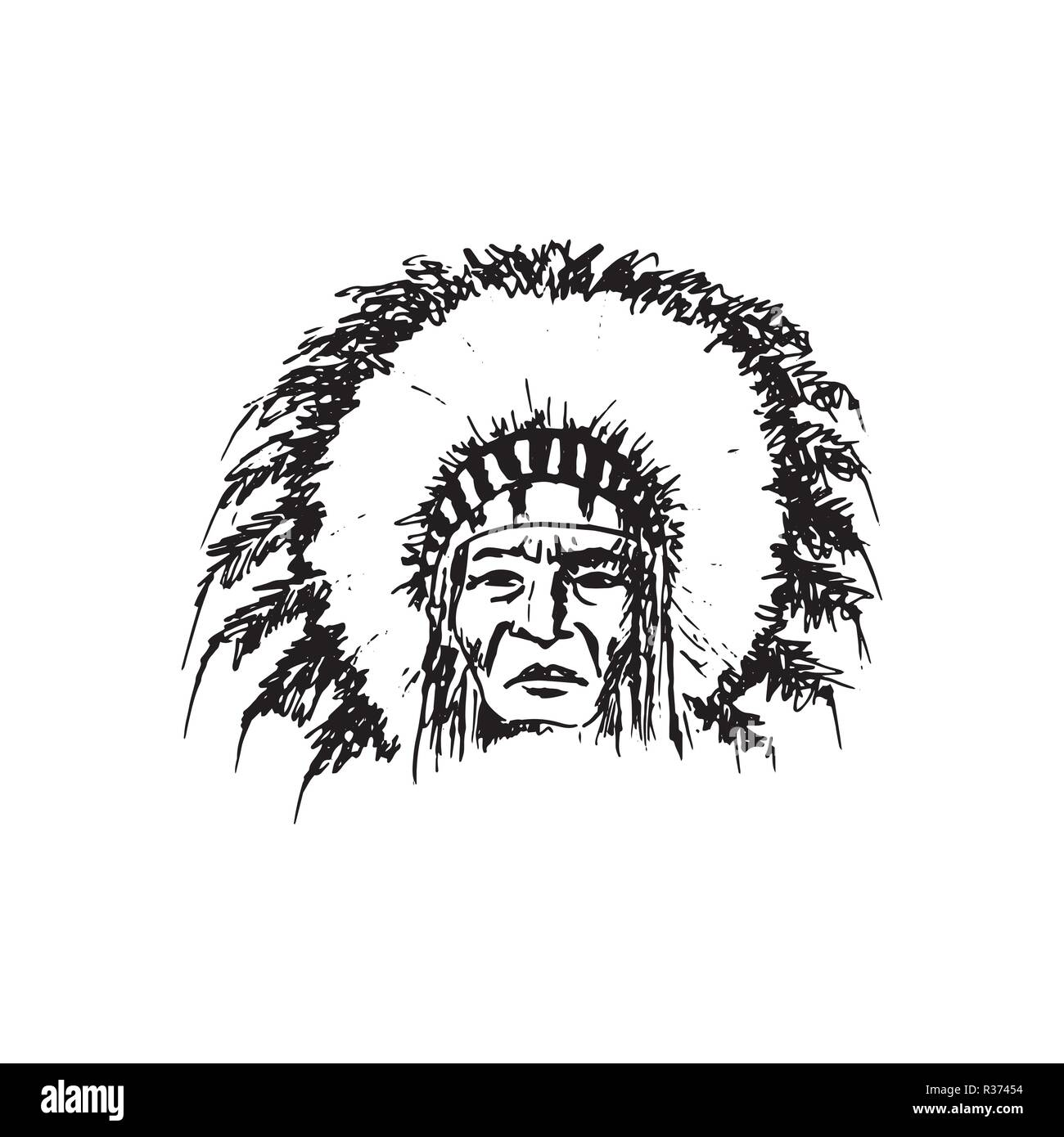 Stylized cartoon sketch North American Indian chief redskin man , face, isolated on white. Black roach. Indian feather headdress of eagle. ink pen. Fo - Stock Image