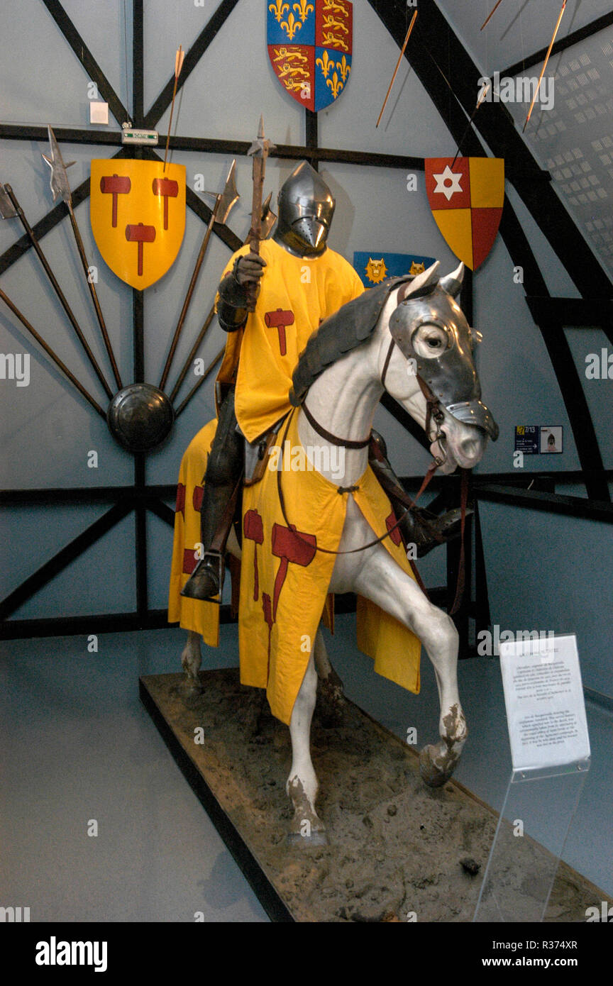 A model Knight mounted on his horse during the Battle of the Hundred Years War.   The model is on display at the Agincourt historic museum in the vill - Stock Image
