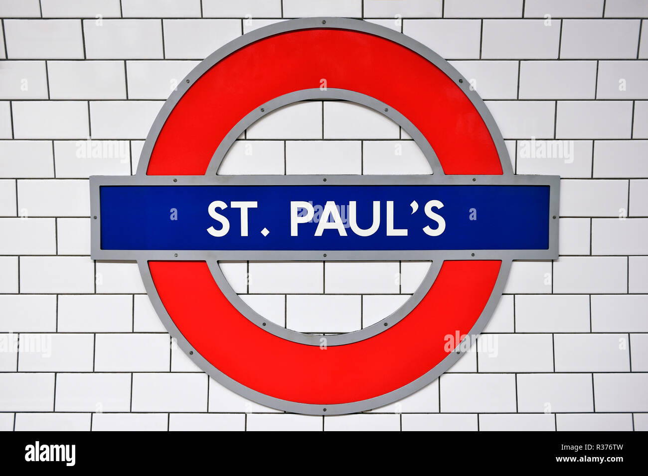 St Pauls Underground Station Sign, London, United Kingdom - Stock Image