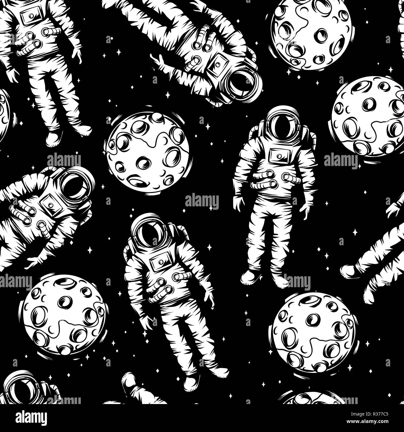 Seamless pattern of astronauts and moons. - Stock Image