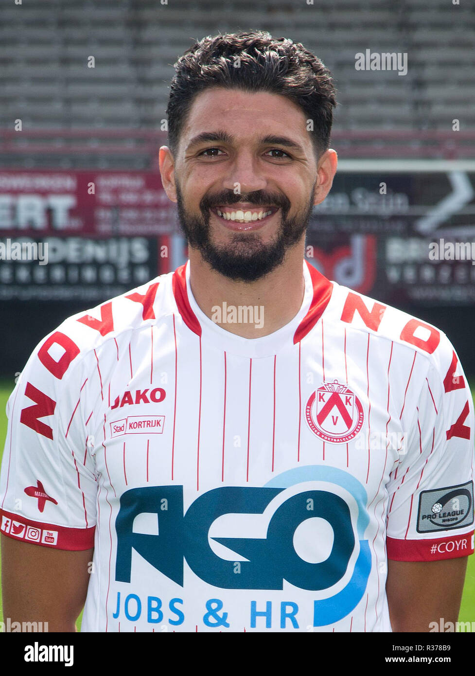 KORTRIJK, BELGIUM - JULY 16 : Elohim Rolland pictured during the 2018 - 2019 season photo shoot of Kv Kortrijk on July 16, 2018 in Kortrijk, Belgium. (Photo by Romaen Dominique/Isosport) - Stock Image