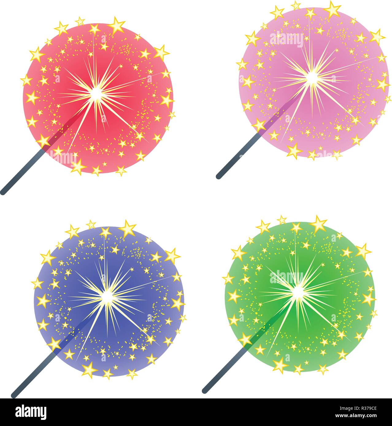 Set of colored burning sparklers isolated on white background. Sketch for greeting card, party invitation, festive poster, other cards. Vector cartoon close-up illustration. - Stock Vector