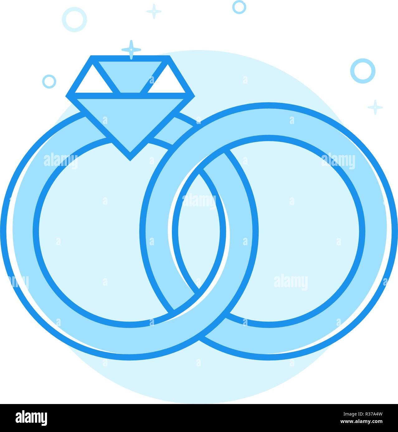 Wedding Rings Flat Vector Icon, Symbol, Pictogram, Sign. Light Blue Monochrome Design. Editable Stroke - Stock Image