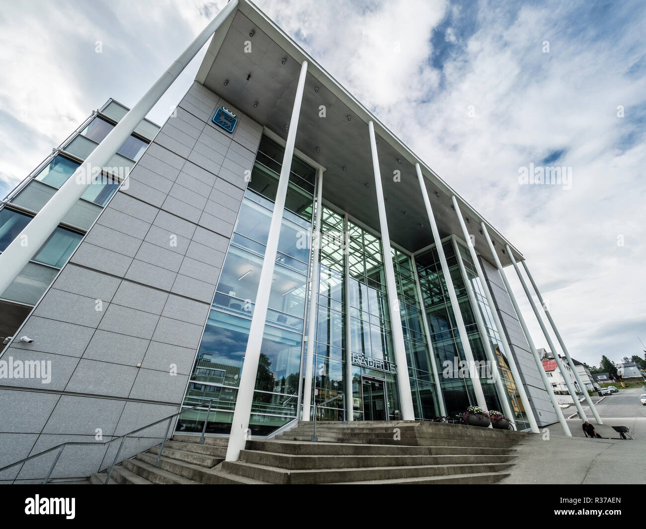 New City Hall, Radhus, town hall, modern architecture with large glass facade, Tromsö, Norway Stock Photo