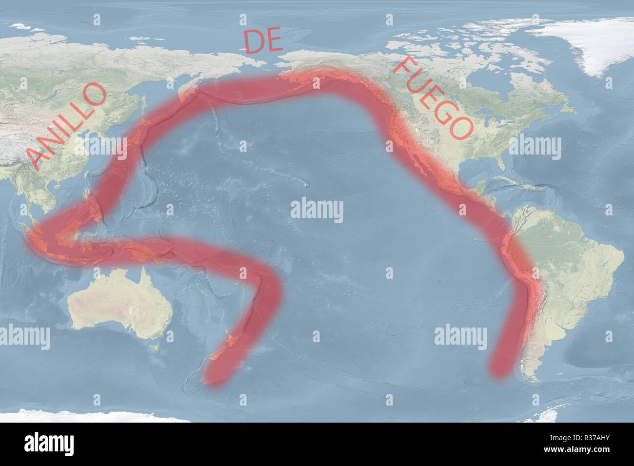 Pacific 'Ring of Fire' map (Spanish-version) (image for illustrative purposes only) - Stock Image