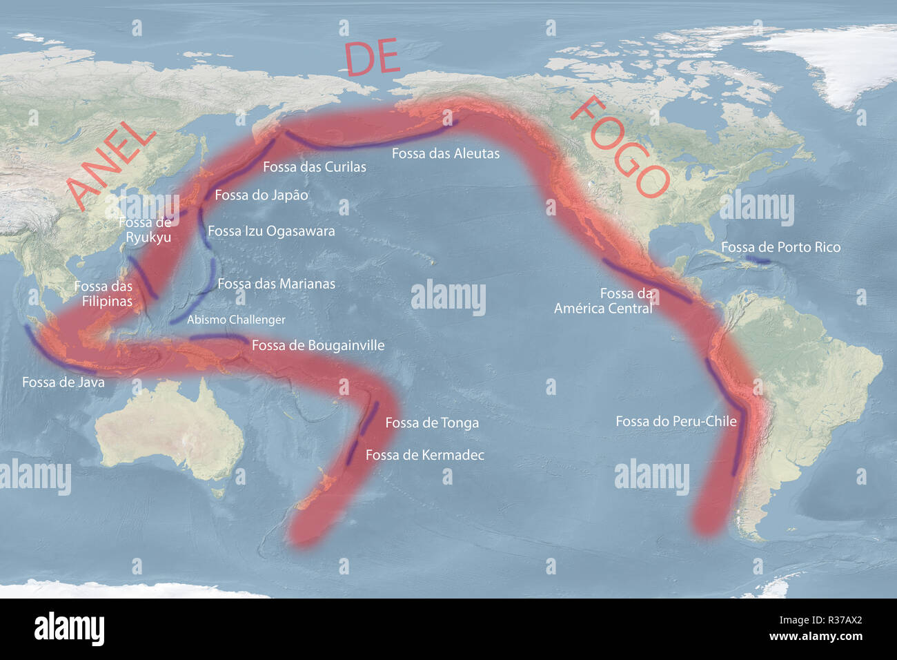 Pacific 'Ring of Fire' map (Portuguese version) with trenches (image for illustrative purposes only) - Stock Image
