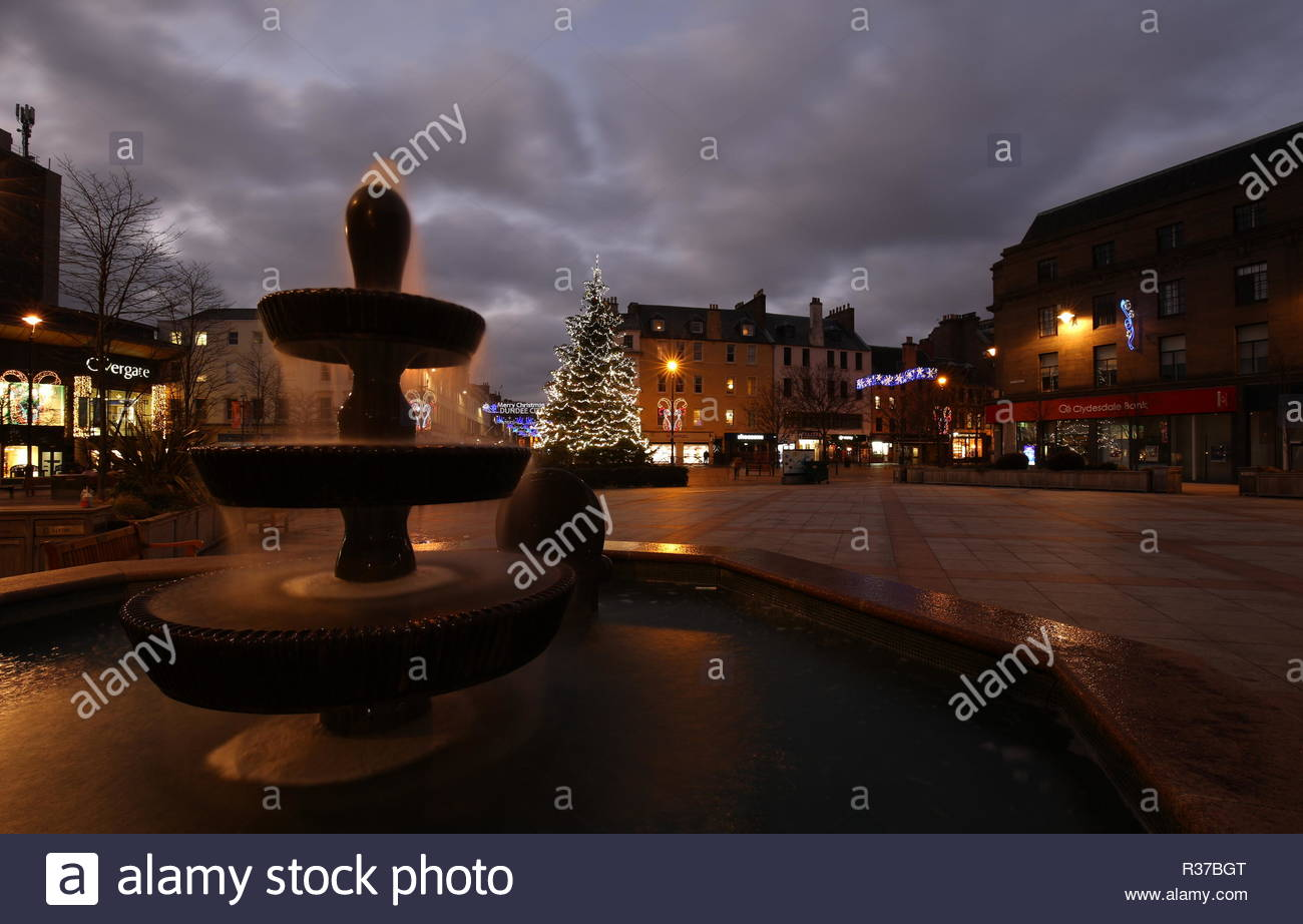 Fountain and Christmas decorations City Square Dundee Scotland  November 2018 - Stock Image