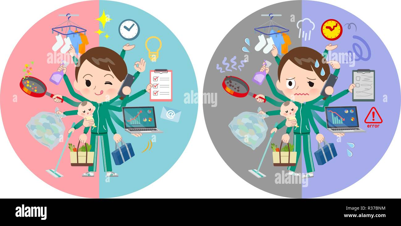 A set of women in sportswear who perform multitasking in offices and private.There are things to do smoothly and a pattern that is in a panic.It's vec - Stock Image