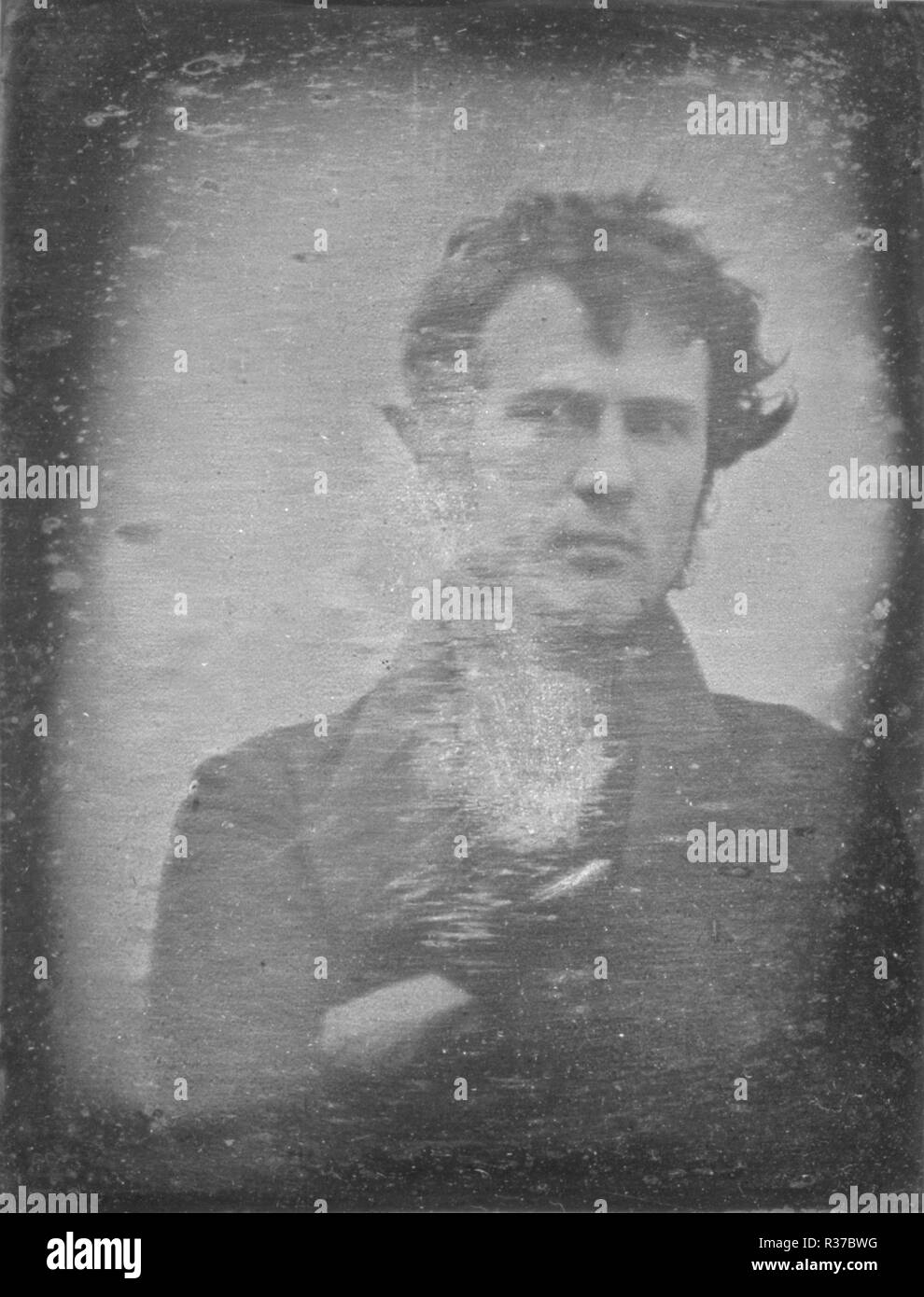 The first photographic portrait image of a human ever produced. Robert Cornelius, self-portrait - Stock Image