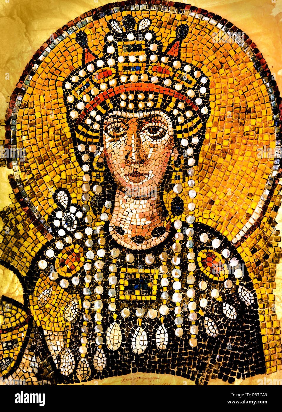 Theodora  500 – 548 Byzantine Empress of the Eastern Roman Empire by marriage to Emperor Justinian I.   She was a champion of women's rights.  She had laws passed which prohibited the trafficking of young girls and changed existing laws impacting divorce to give more benefits to women. - Stock Image