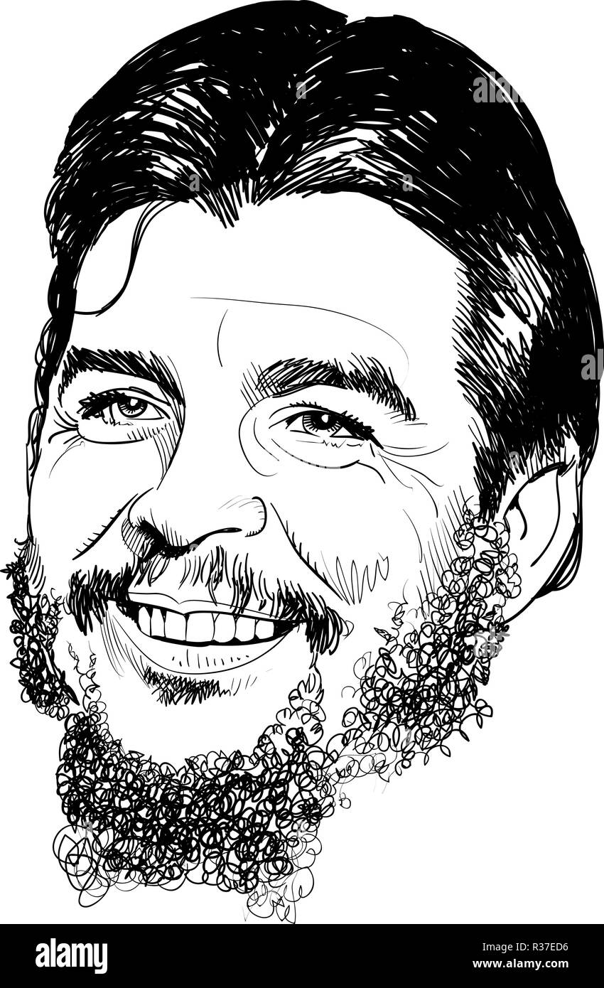 Ernesto Che Guevara portrait in line art. He was Argentine Marxist revolutionary, physician, author, guerrilla leader, diplomat and military theorist. - Stock Vector