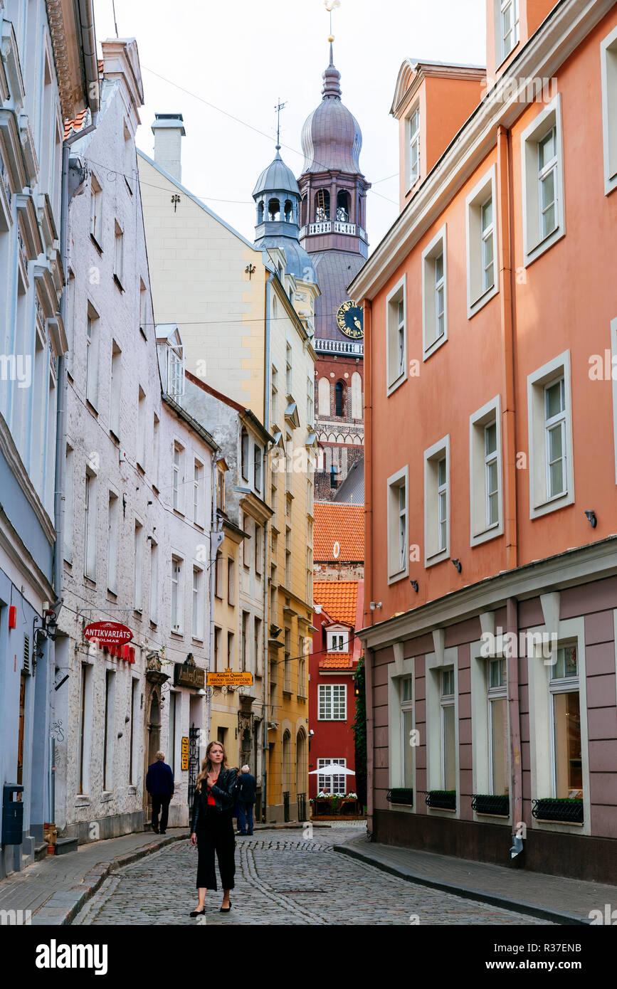 Kramu iela. Old Town Riga. Riga, Latvia, Baltic states, Europe - Stock Image
