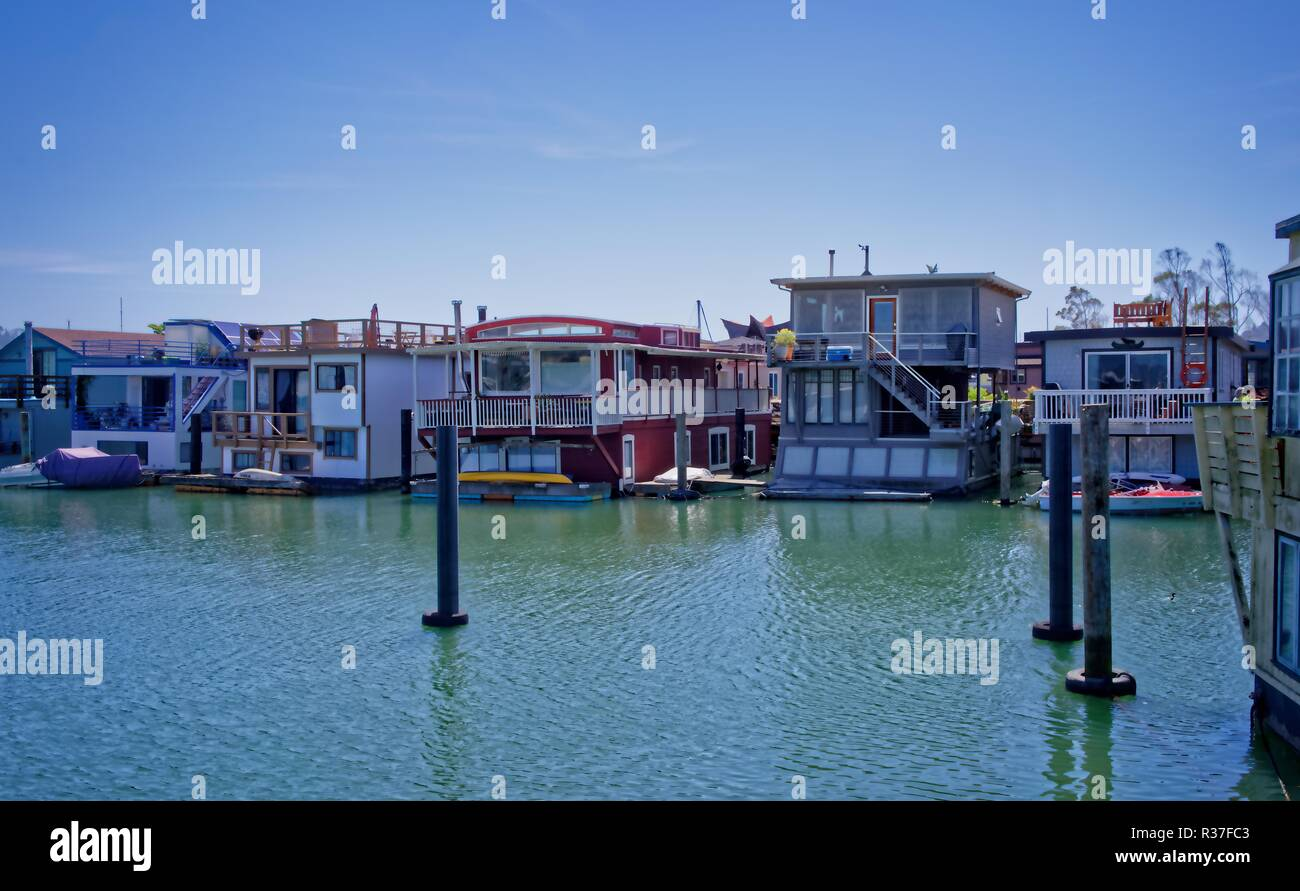 Houseboat, floating homes in Sausalito, California - Stock Image