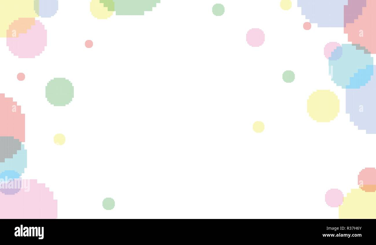 Vector 8 bit pixel art banner with transparent bubbles on background