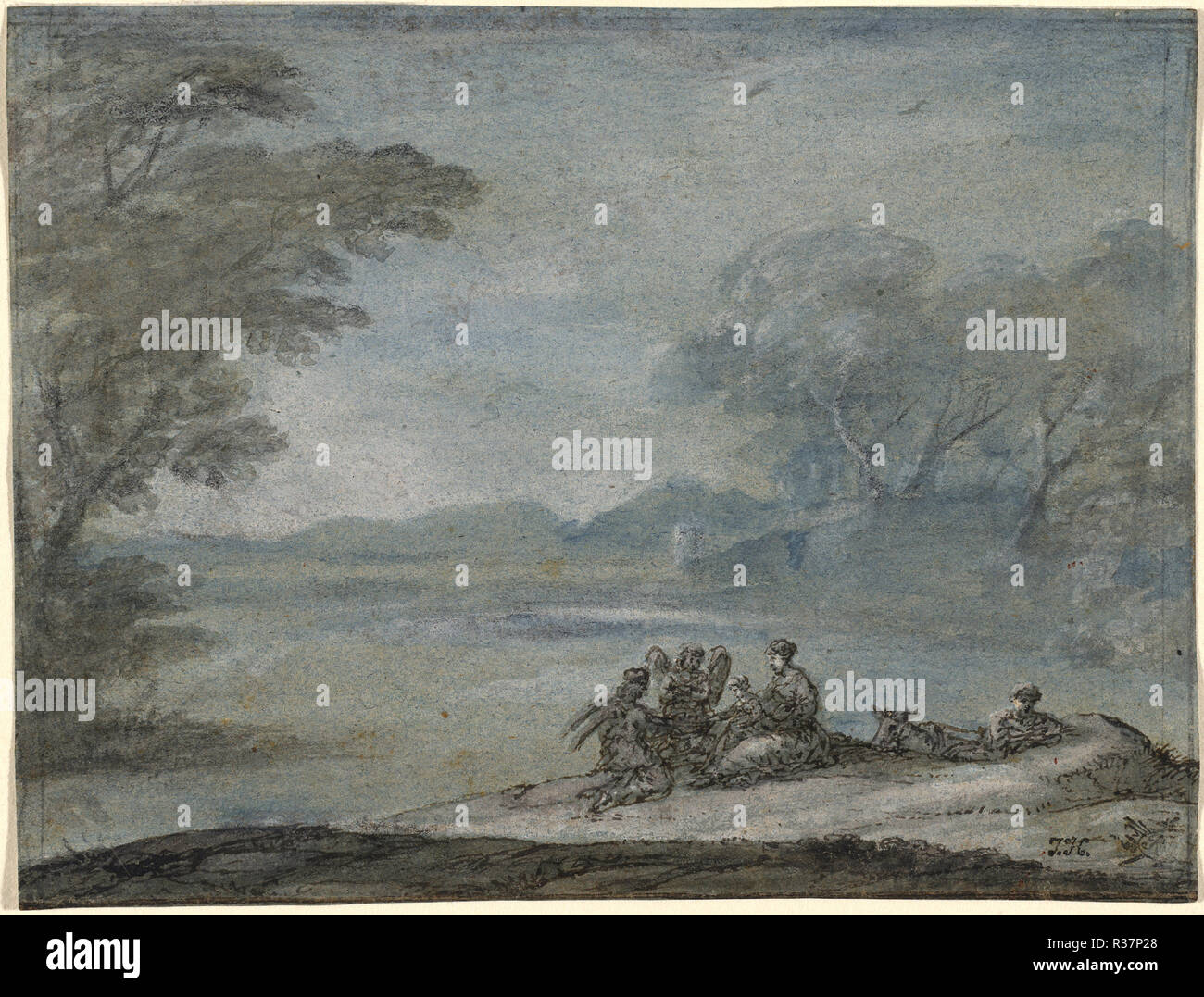 The Rest on the Flight into Egypt. Dated: 1682. Dimensions: overall (approximate): 12.6 x 16.6 cm (4 15/16 x 6 9/16 in.). Medium: pen and brown ink with gray and blue wash and graphite, heightened with white gouache on blue laid paper. Museum: National Gallery of Art, Washington DC. Author: Claude Lorrain. - Stock Image
