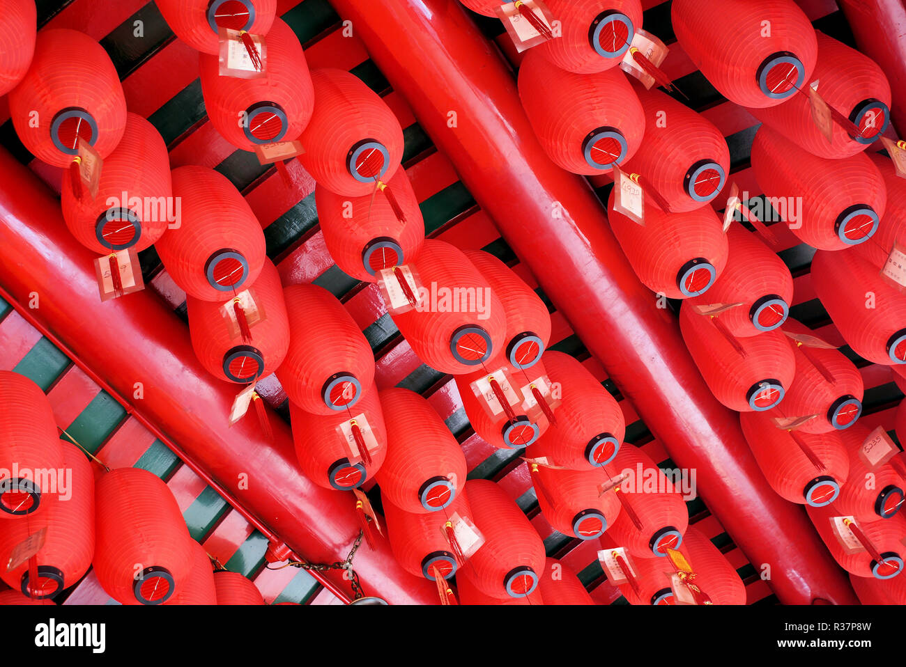 fortunately lamps in a taoist temple Stock Photo