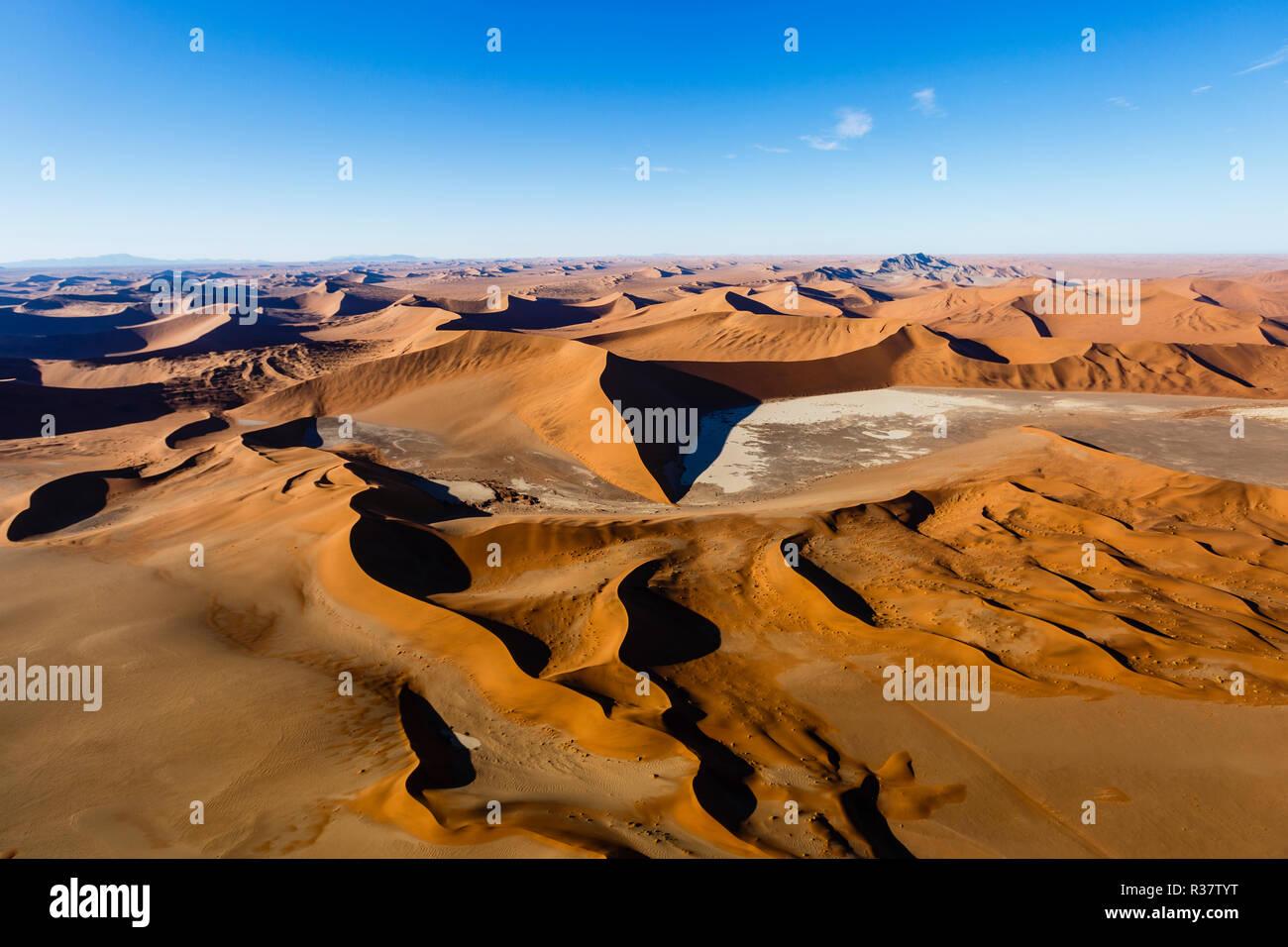 Aerial view, star dune in Sossusvlei National Park, Namib-Naukluft National Park, Namibia Stock Photo