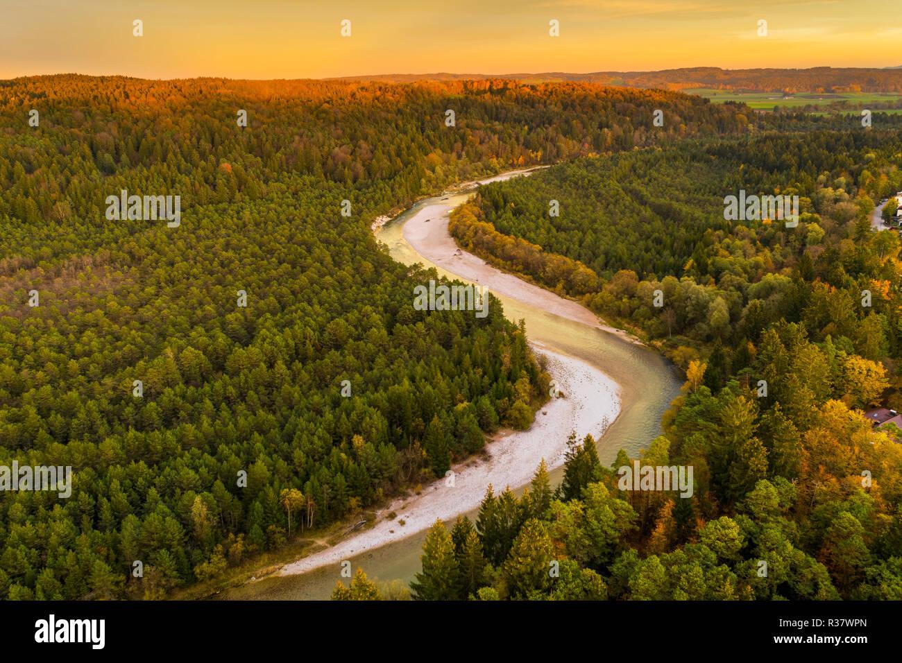 Isar in the evening light, nature reserve Isarauen, near Geretsried, drone shot, Upper Bavaria, Bavaria, Germany - Stock Image