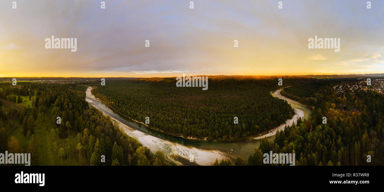 Isar in the evening light, nature reserve Isarauen, near Geretsried, drone shot, Upper Bavaria, Bavaria, Germany Stock Photo