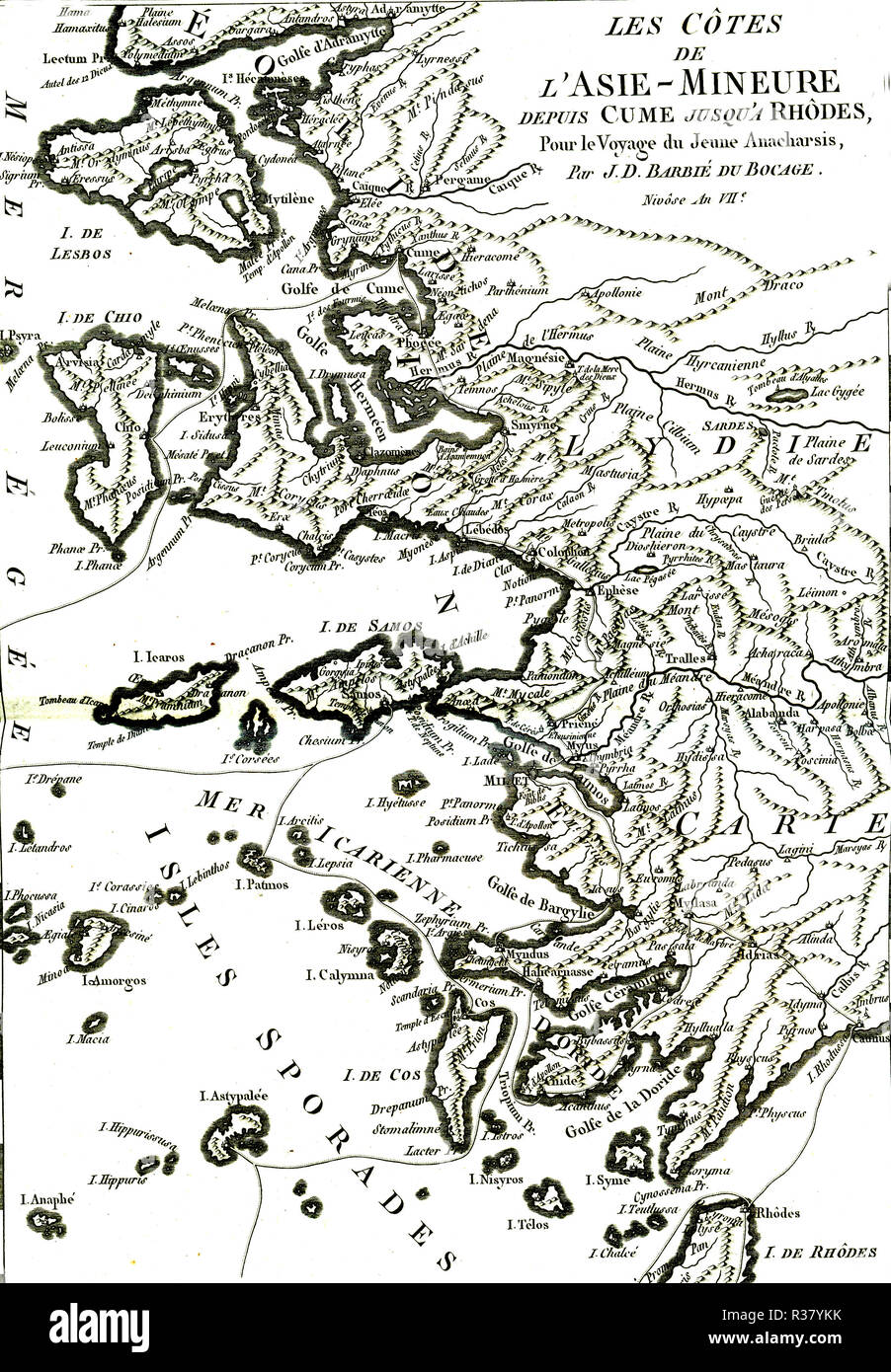 Ancient Greece map, Travel of the young Anacharsis in Minor Asia coast, 1785, France - Stock Image