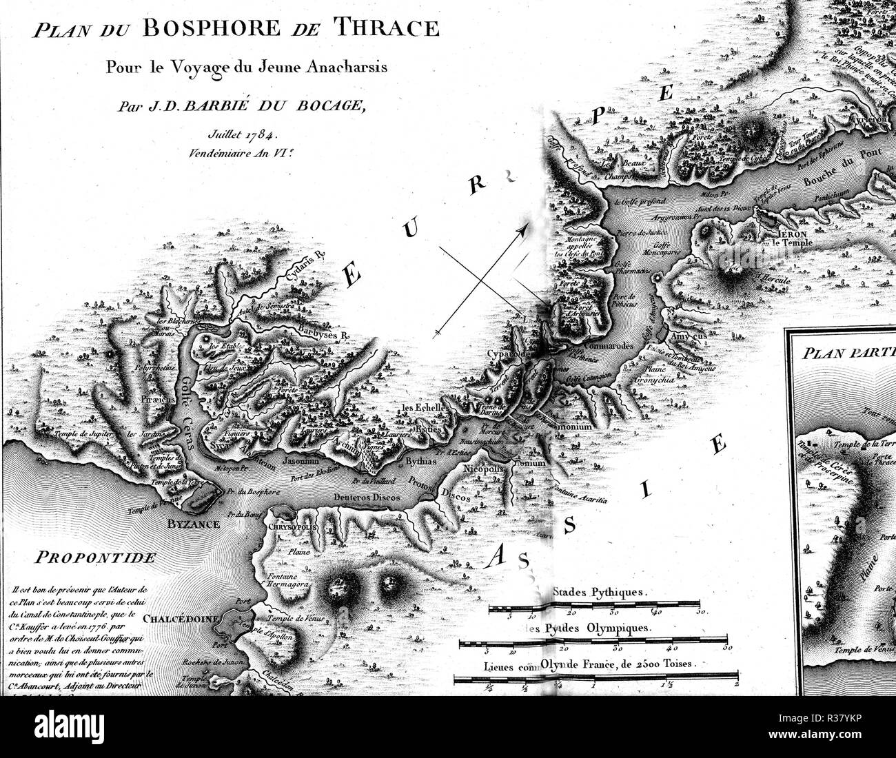 Thracian Bosphorus and Byzantium Greece Minor Asia, Travel of the young Anacharsis, 1784, France - Stock Image