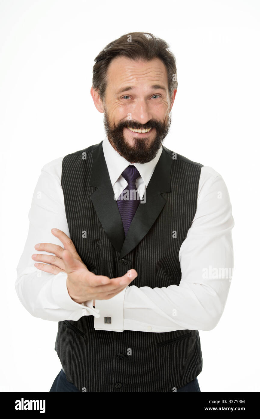 Man bearded cheerful businessman tell unbelievable story isolated white. Pleasant communication with businessman. Businessman share funny story. Amazing business news. Can you believe that. - Stock Image