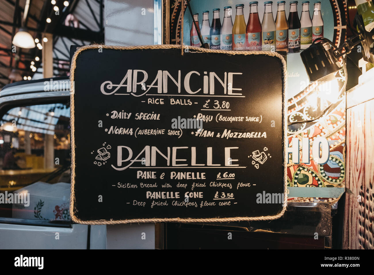London, UK - November 2, 2018: Food menu at Little Sicily stand in Mercato Metropolitano, the first sustainable community market in London focused on  - Stock Image