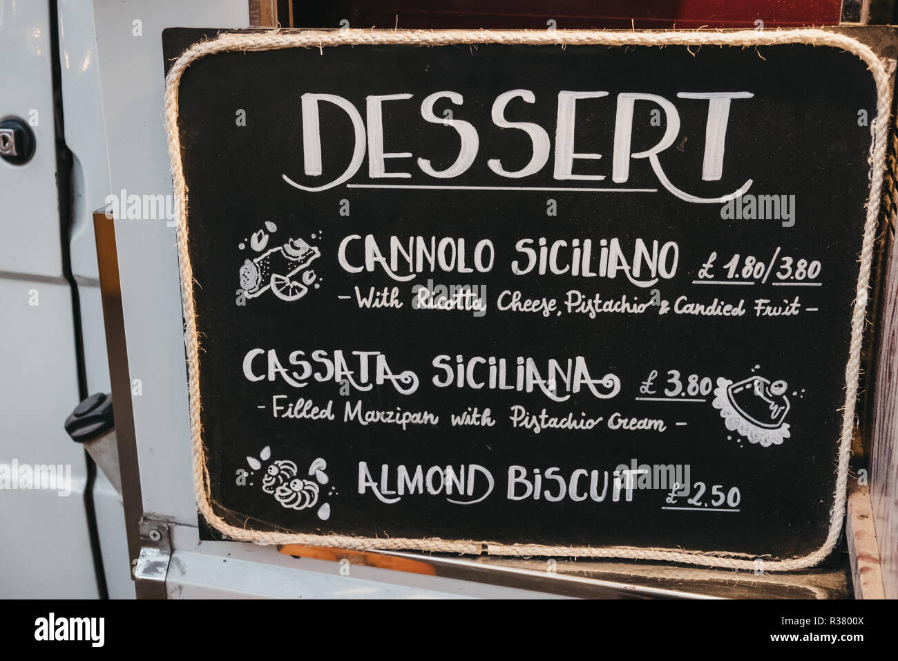 London,UK - November 2,2018: Dessert menu at Little Sicily stand in Mercato Metropolitano, the first sustainable community market in London focused on - Stock Image