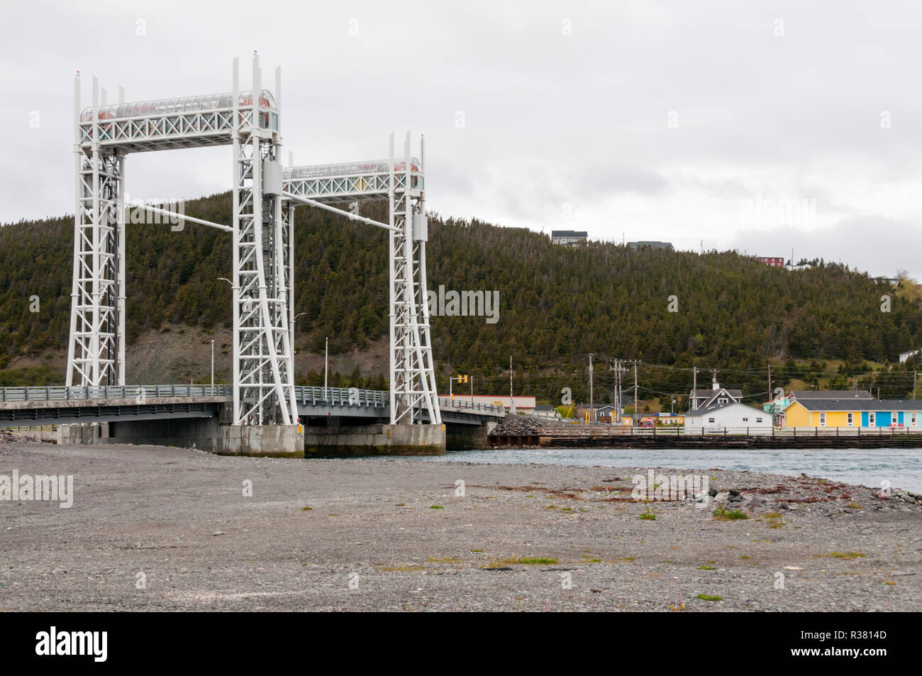 The Sir Ambrose Shea Lift Bridge over The Gut at Placentia, Newfoundland. - Stock Image