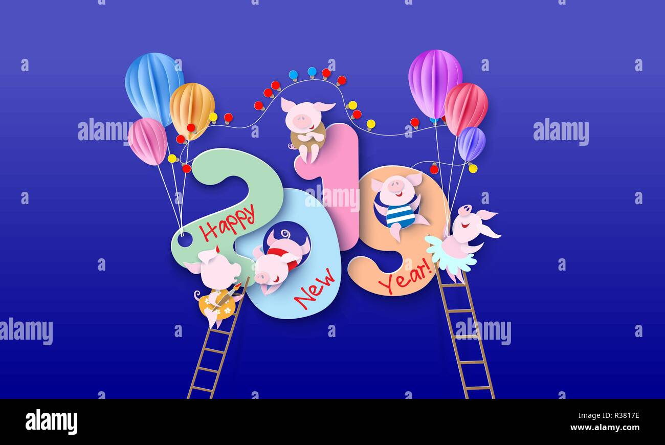 2019 New Year design card with company of pigs on blue background. Vector illustration. Paper cut and craft style.