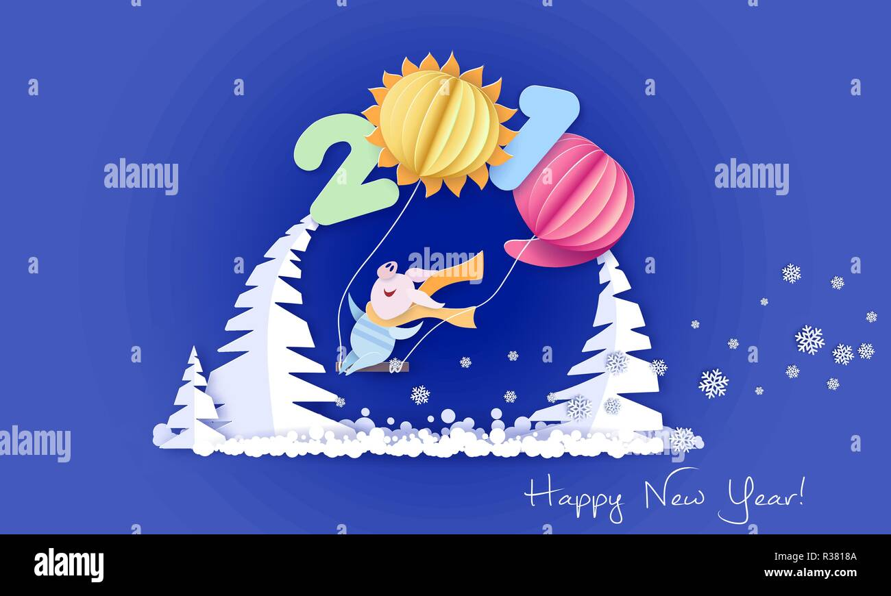 Color paper cut design and craft winter landscape with pig on swing under big digits 2019 shaped as air ballons. Winter holidays and christmas design. Vector illustration. Happy New Year 2019 card. Stock Vector