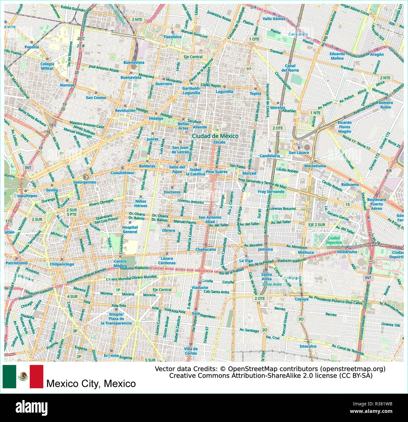 Mexico city, Mexico,Aztec,Valley of Mexico,Spanish,Greater Mexico City, - Stock Image