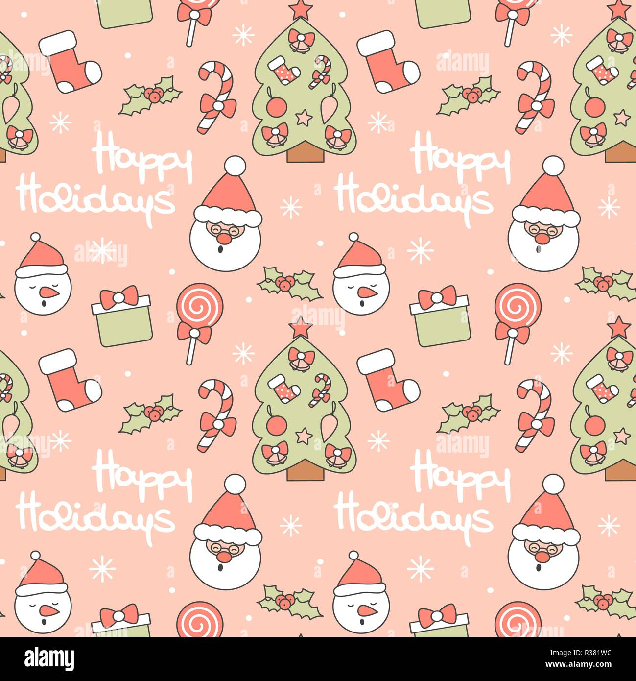 cute seamless vector pattern background illustration with santa claus christmas tree candy cane gift box sock lollipop holly and others R381WC