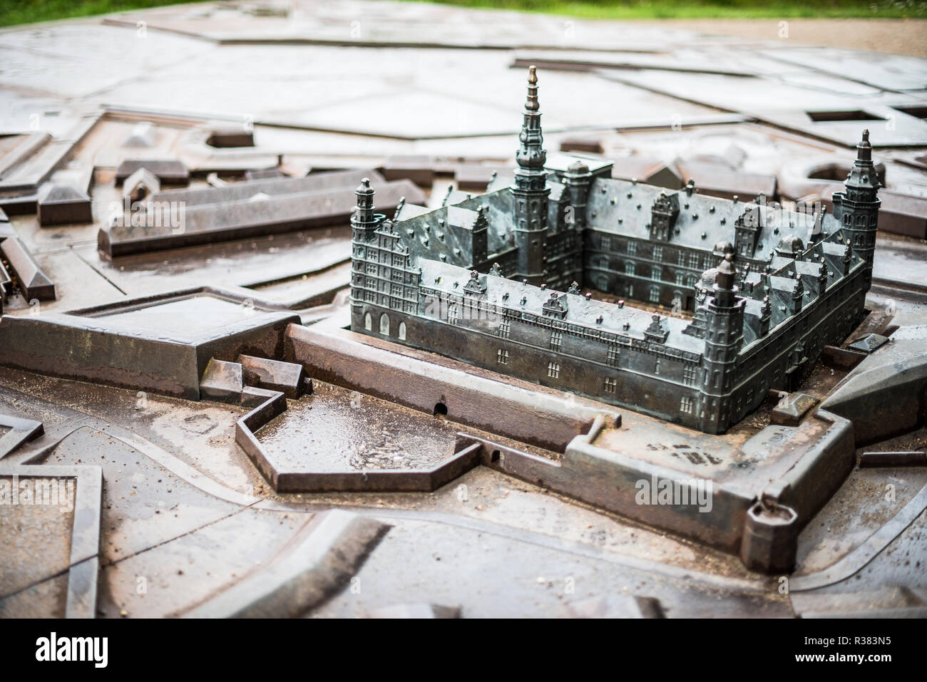 Known as Hamlet's Castle because William Shakespeare based his play Hamlet in the castle at Elsinore, Kronborg Castle sits on the narrow channel betwe - Stock Image