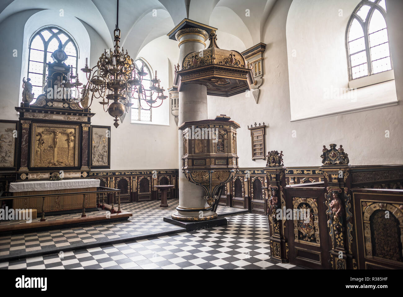 Kronborg Chapel was inaugurated in 1582. A fire at the castle in 1629 left the Chapel mostly untouched, but when the castle was repurposed in the 18th Stock Photo