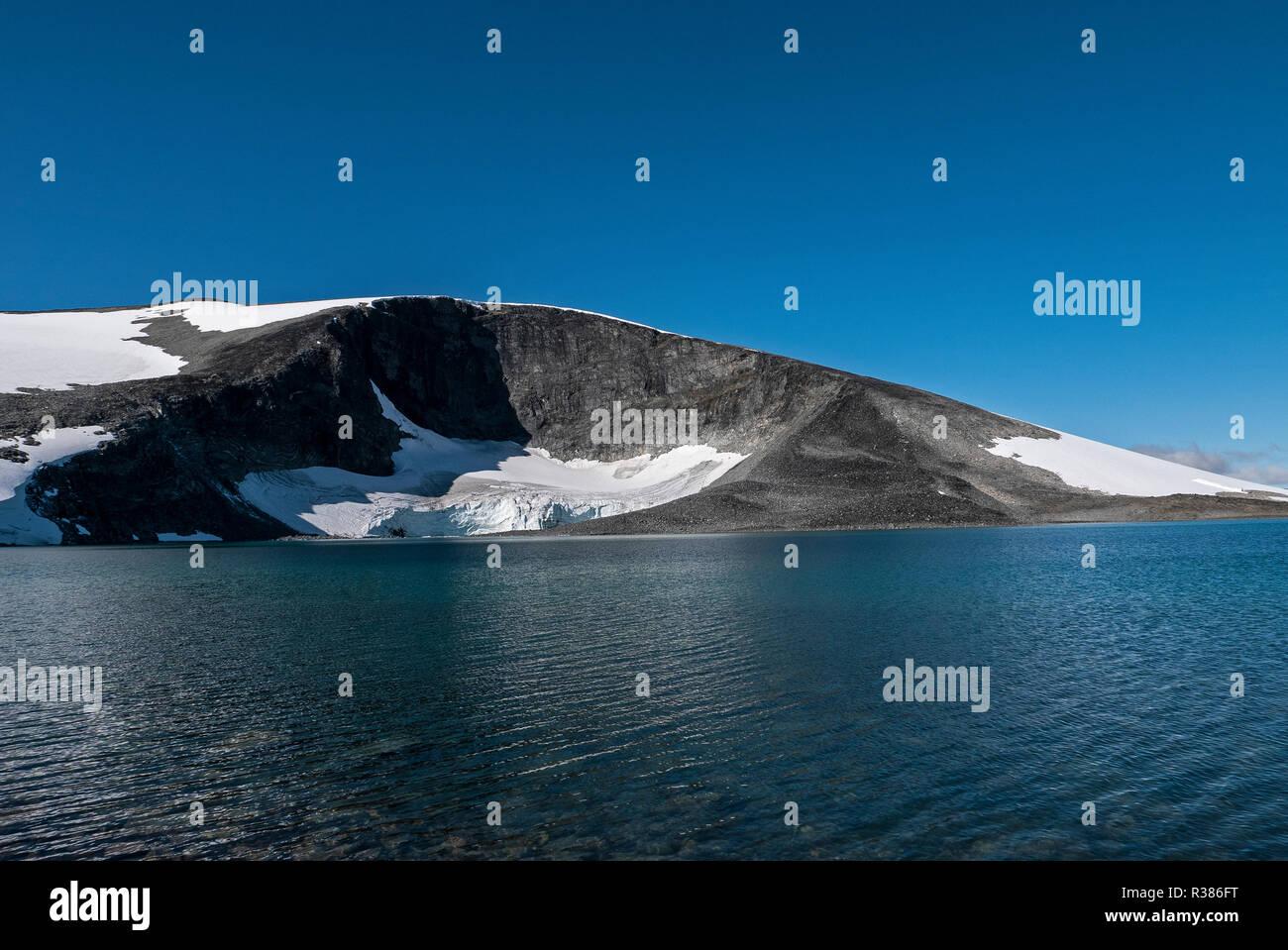 The gorge named Kjelen(the Kettle) on lake Juvvatnet at 1850 metres+ - Stock Image